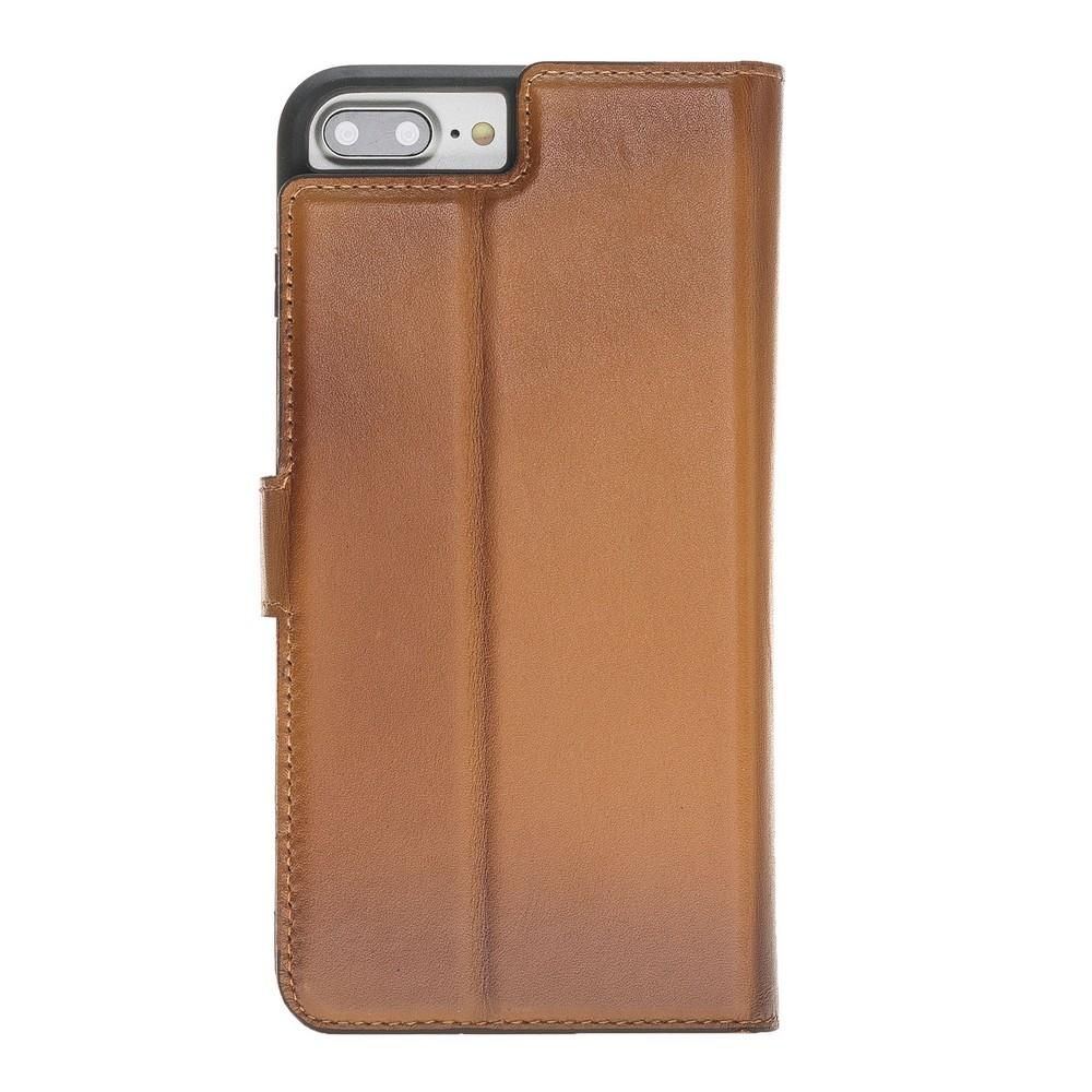 Phone Case Magnetic Detachable Leather Wallet Case for iPhone 7/8 Plus- VAD Tan with Effect Bouletta Case