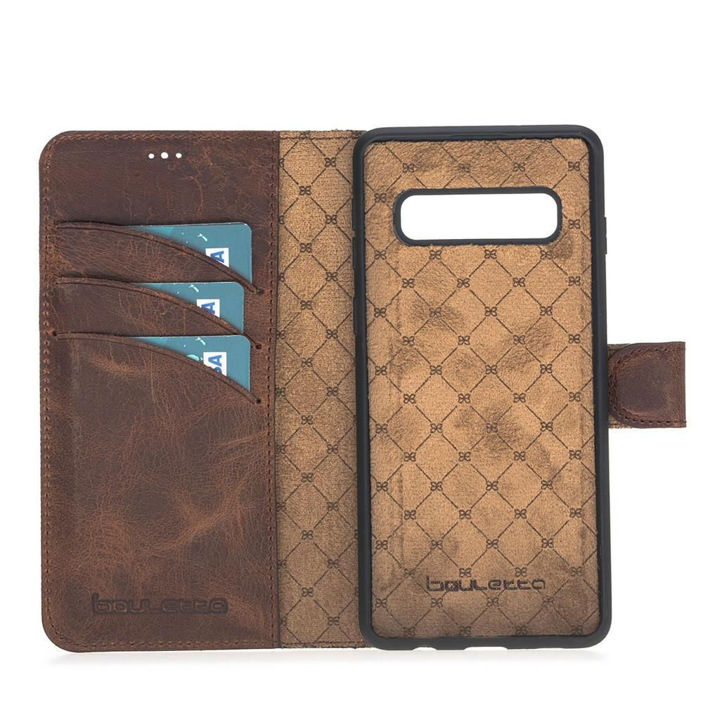 Phone Case Magnetic Detachable Leather Wallet Case for Samsung Galaxy S10 - Antic Brown Bouletta Case