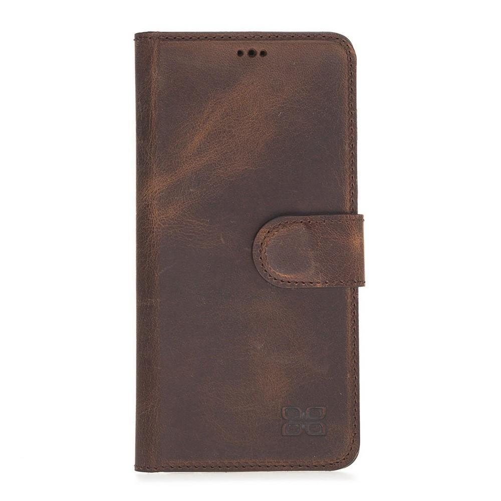 Phone Case Magnetic Detachable Leather Wallet Case for Samsung Galaxy S10 Plus - Antic Dark Brown Bouletta Case