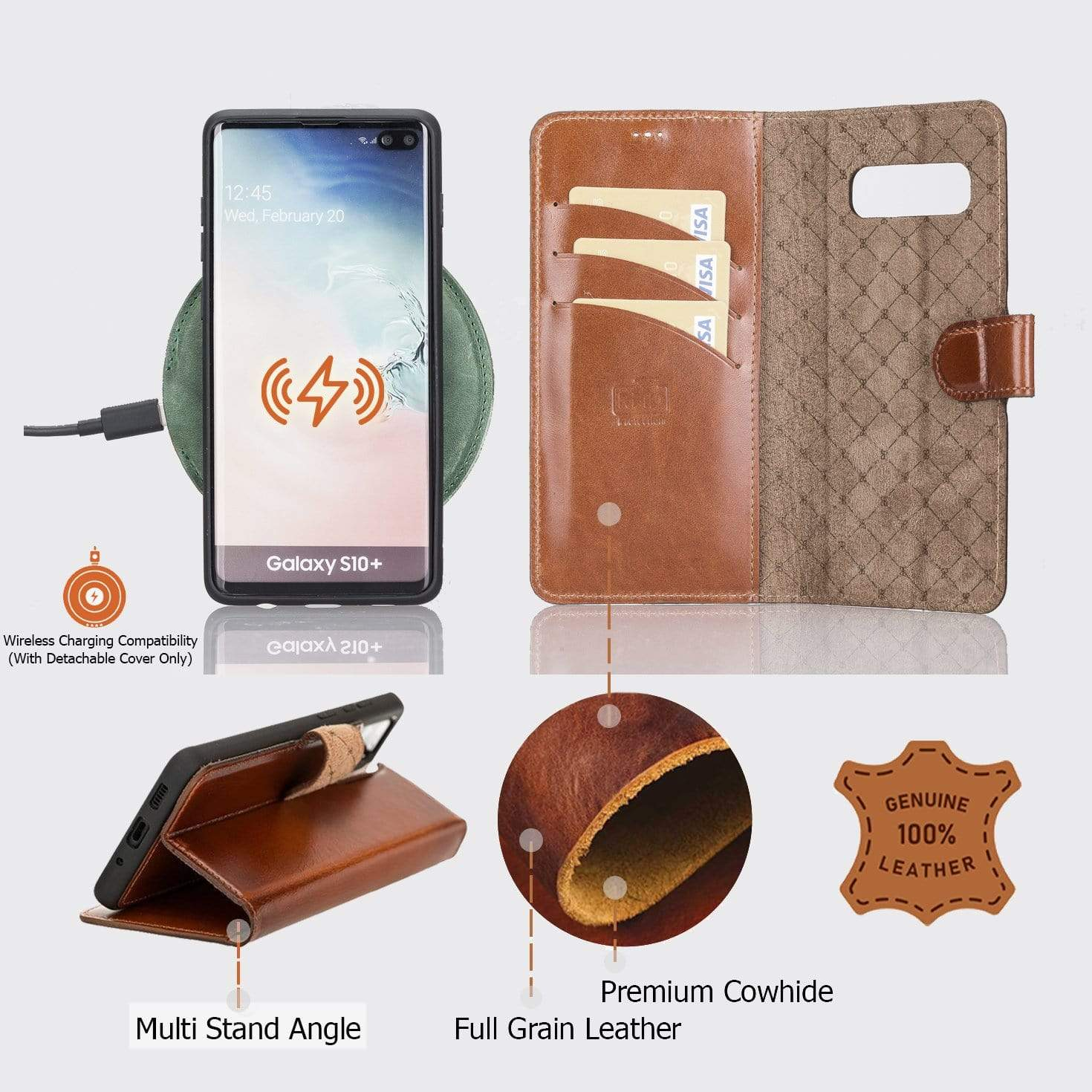 Phone Case Magnetic Detachable Leather Wallet Case for Samsung Galaxy S10 Plus - Antic Dark Brown Bouletta Shop