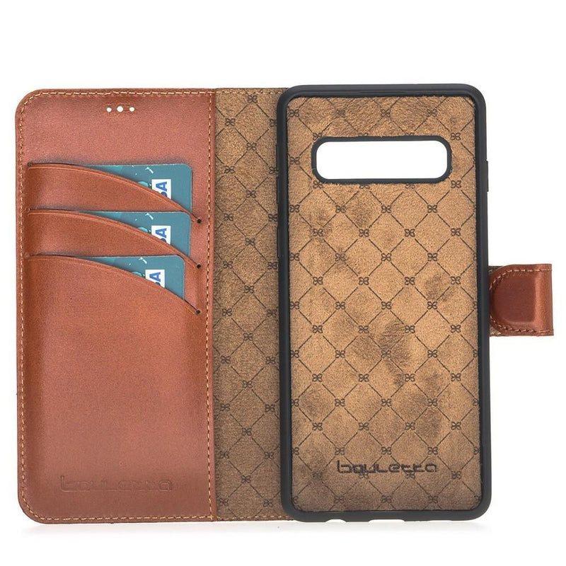 Phone Case Magnetic Detachable Leather Wallet Case for Samsung Galaxy S10 Plus - Rustic Tan with Effect Bouletta Case