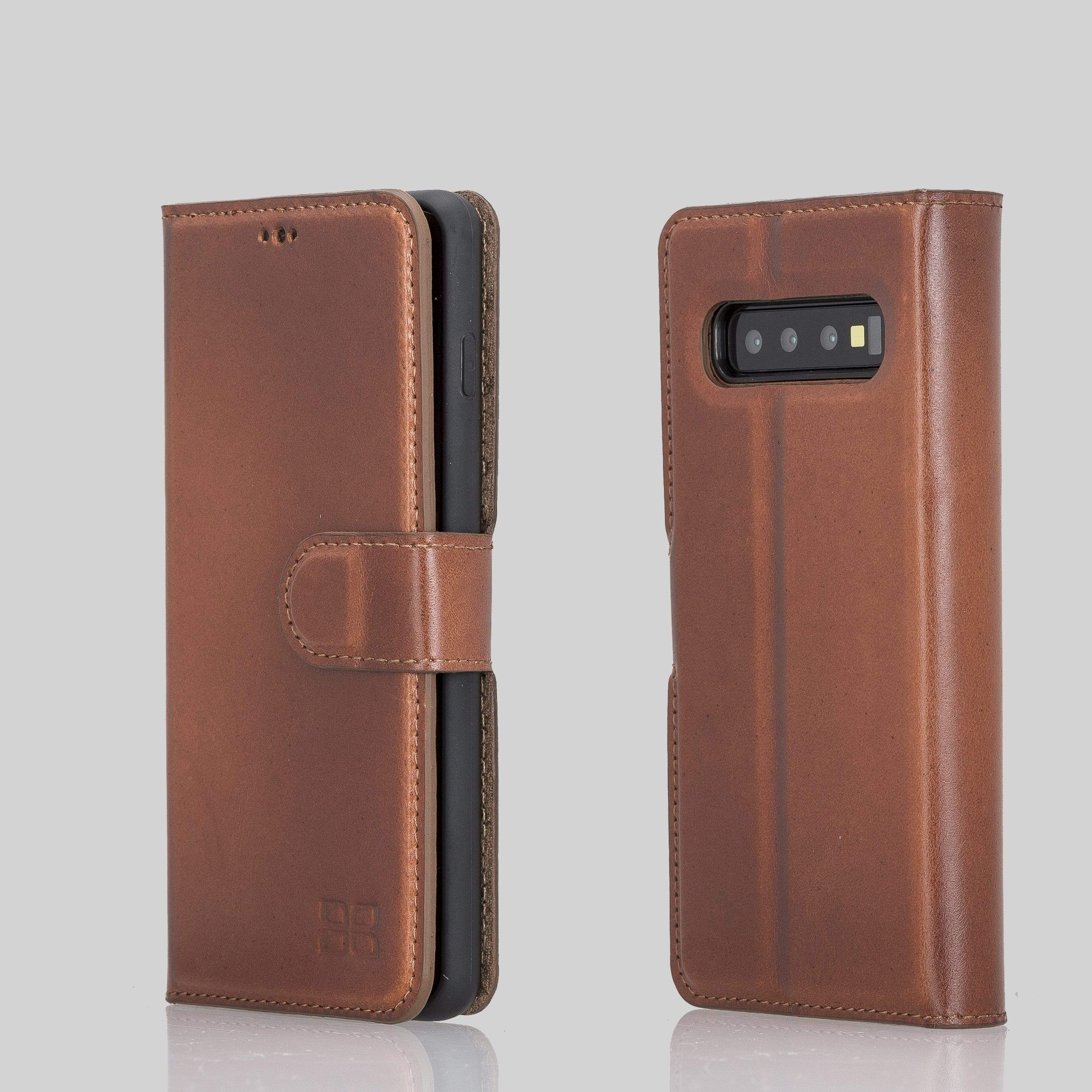 Phone Case Magnetic Detachable Leather Wallet Case for Samsung Galaxy S10 Plus - Tiguan Tan with Vein Bouletta Shop