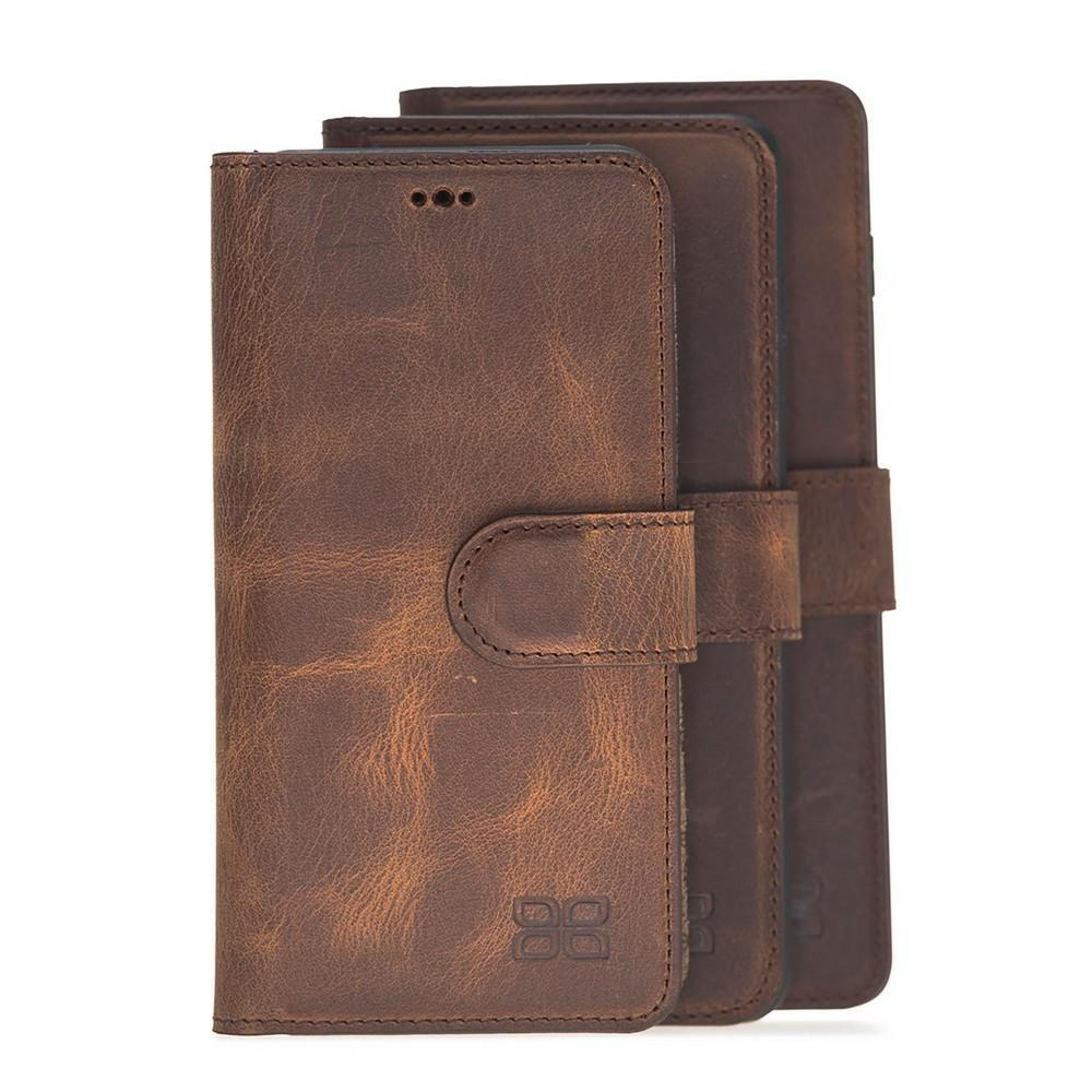 Phone Case Magnetic Detachable Leather Wallet Case for Samsung Galaxy S10E Essential - Antic Brown Bouletta Case