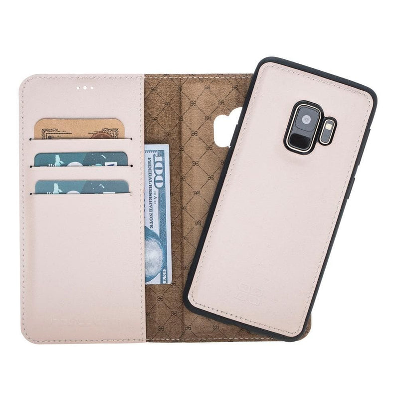 Phone Case Magnetic Detachable Leather Wallet Case for Samsung Galaxy S9 - Nude Bouletta Case