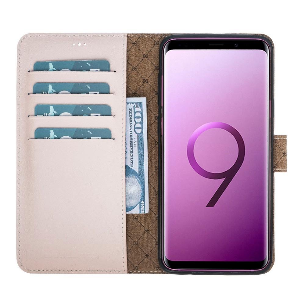Phone Case Magnetic Detachable Leather Wallet Case for Samsung Galaxy S9 Plus - NUDE Bouletta Case