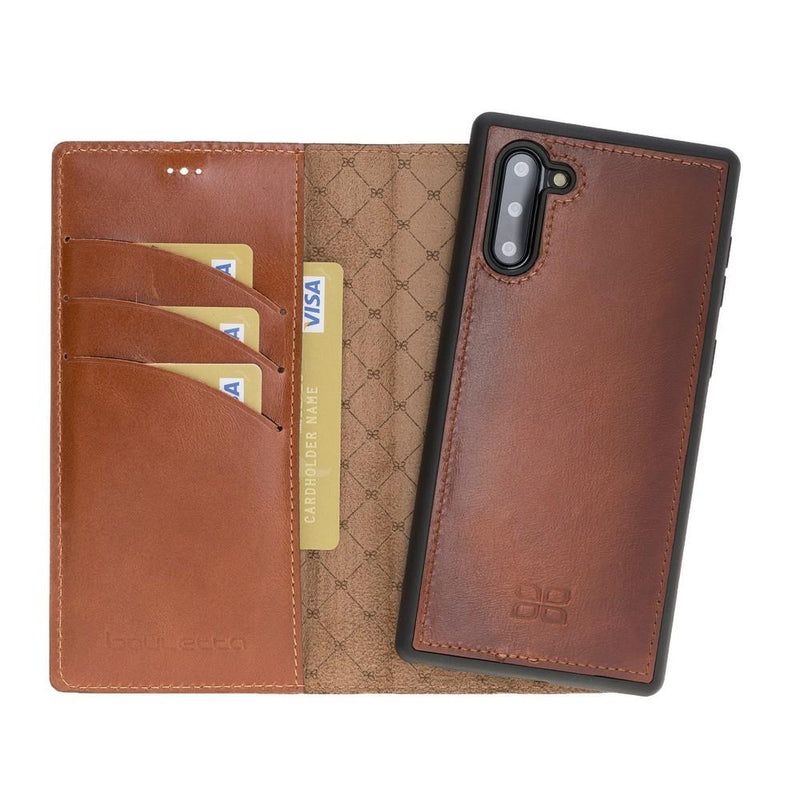 Phone Case Magnetic Detachable Leather Wallet Case for Samsung Note 10 - Rustic Tan with Effect Bouletta Case
