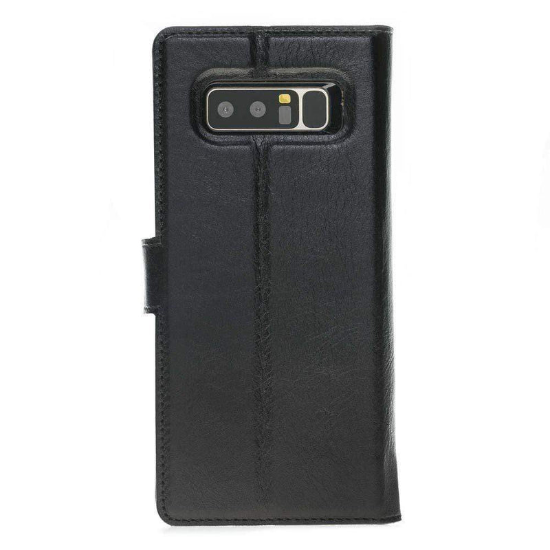 Phone Case Magnetic Detachable Leather Wallet Case for Samsung Note 8 - Rustic Black Bouletta Case