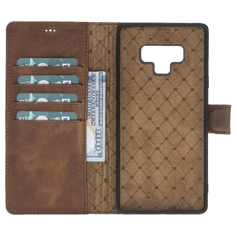 Phone Case Magnetic Detachable Leather Wallet Case for Samsung Note 9 - Antic Brown Bouletta Case
