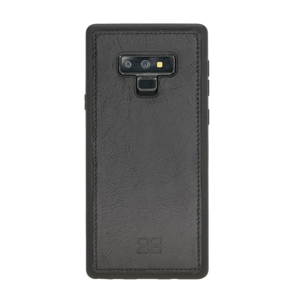 Phone Case Magnetic Detachable Leather Wallet Case for Samsung Note 9 - Rustic Black Bouletta Case