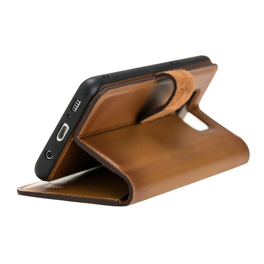 Phone Case Magnetic Detachable Leather Wallet Case for Samsung S8 Plus - VAD Tan with Effect Bouletta Case