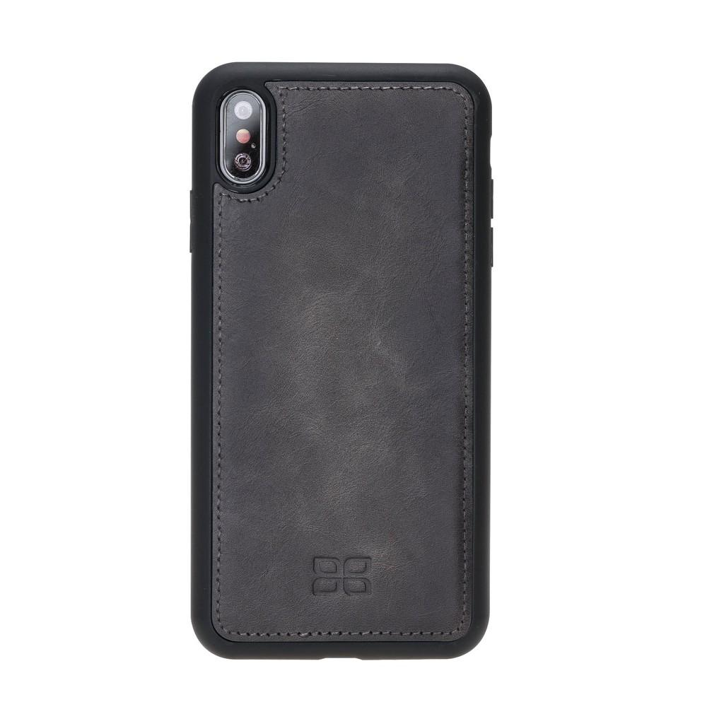 Phone Case Magnetic Detachable Leather Wallet Case with RFID Blocker for Apple iPhone XS Max - Tiguan Grey with Effect Bouletta Case