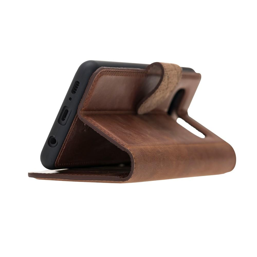 Phone Case Magnetic Detachable Leather Wallet Case with RFID Blocker for Samsung Galaxy S10 - Antic Brown Bouletta Case