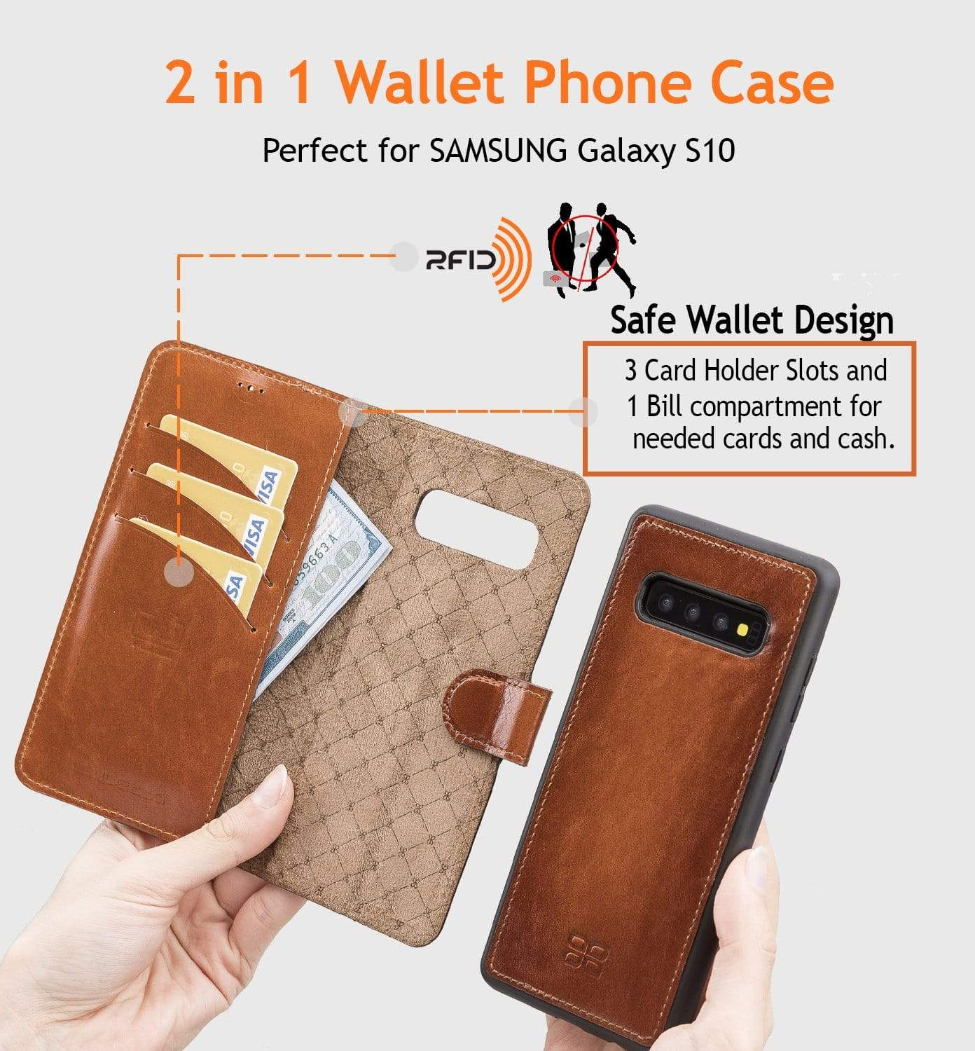 Phone Case Magnetic Detachable Leather Wallet Case with RFID Blocker for Samsung Galaxy S10 - Antic Brown Bouletta Shop