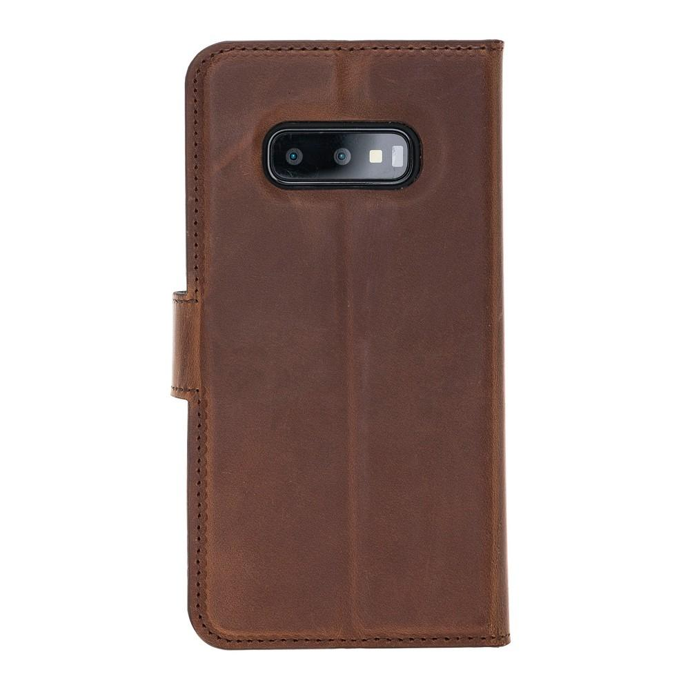 Phone Case Magnetic Detachable Leather Wallet Case with RFID Blocker for Samsung Galaxy S10E Essential - Antic Brown Bouletta Case