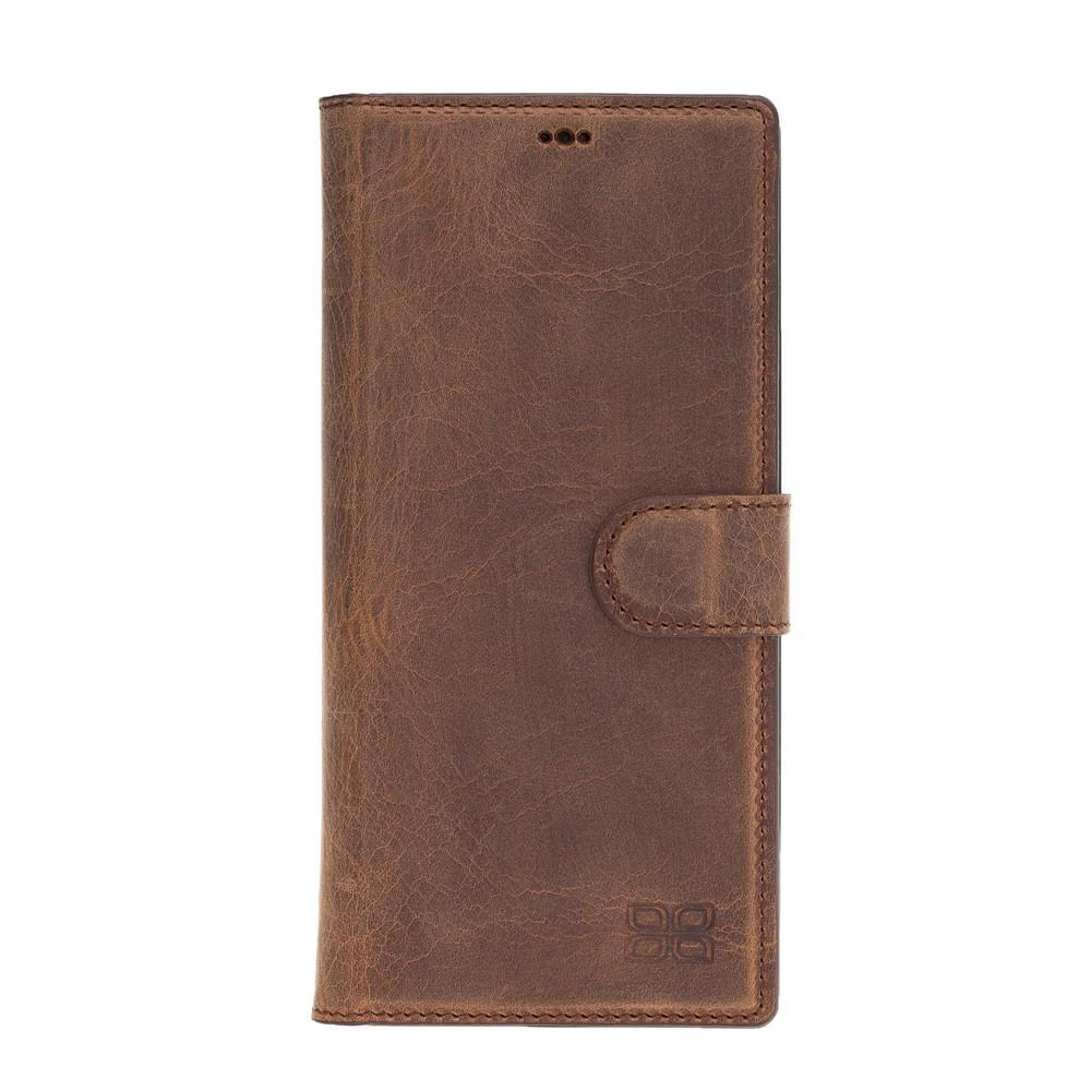 Phone Case Magnetic Detachable Leather Wallet Case with RFID Blocker for Samsung Note 10 Plus - Antic Brown Bouletta Case