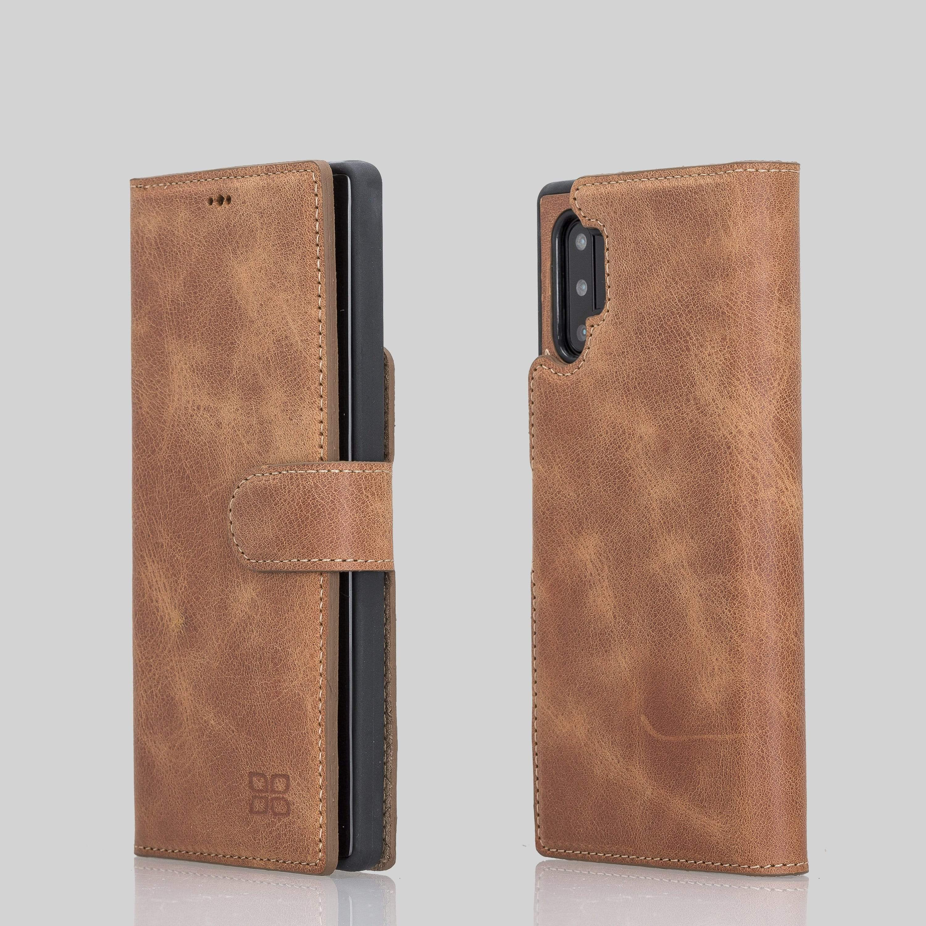 Phone Case Magnetic Detachable Leather Wallet Case with RFID Blocker for Samsung Note 10 Plus - Antic Brown Bouletta Shop
