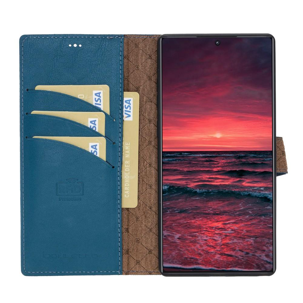Phone Case Magnetic Detachable Leather Wallet Case with RFID Blocker for Samsung Note 10 Plus - Burnished Navy Blue Bouletta Case