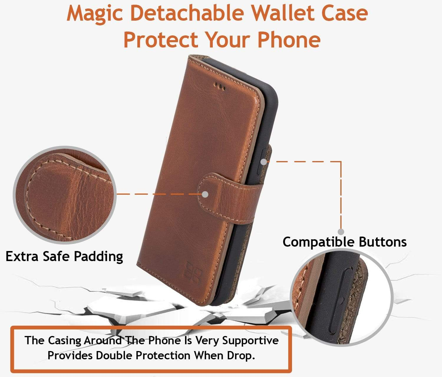 Phone Case Magnetic Detachable Leather Wallet Case with RFID Blocker for Samsung Note 10 Plus - Burnished Navy Blue Bouletta Shop
