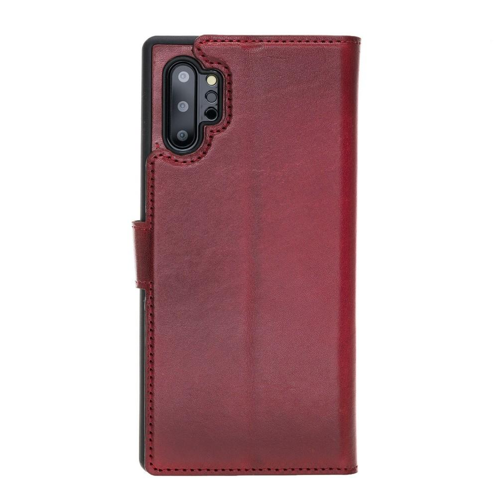 Phone Case Magnetic Detachable Leather Wallet Case with RFID Blocker for Samsung Note 10 Plus - Vegetal Burnished Red Bouletta Case
