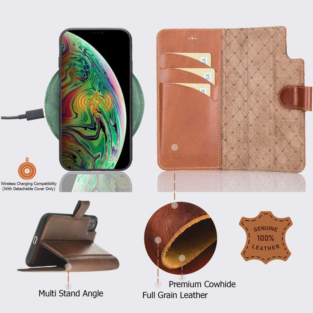 Phone Case Magnetic Detachable Leather Wallet Case with RFID for Apple iPhone X/XS - RST2EF Bouletta Shop