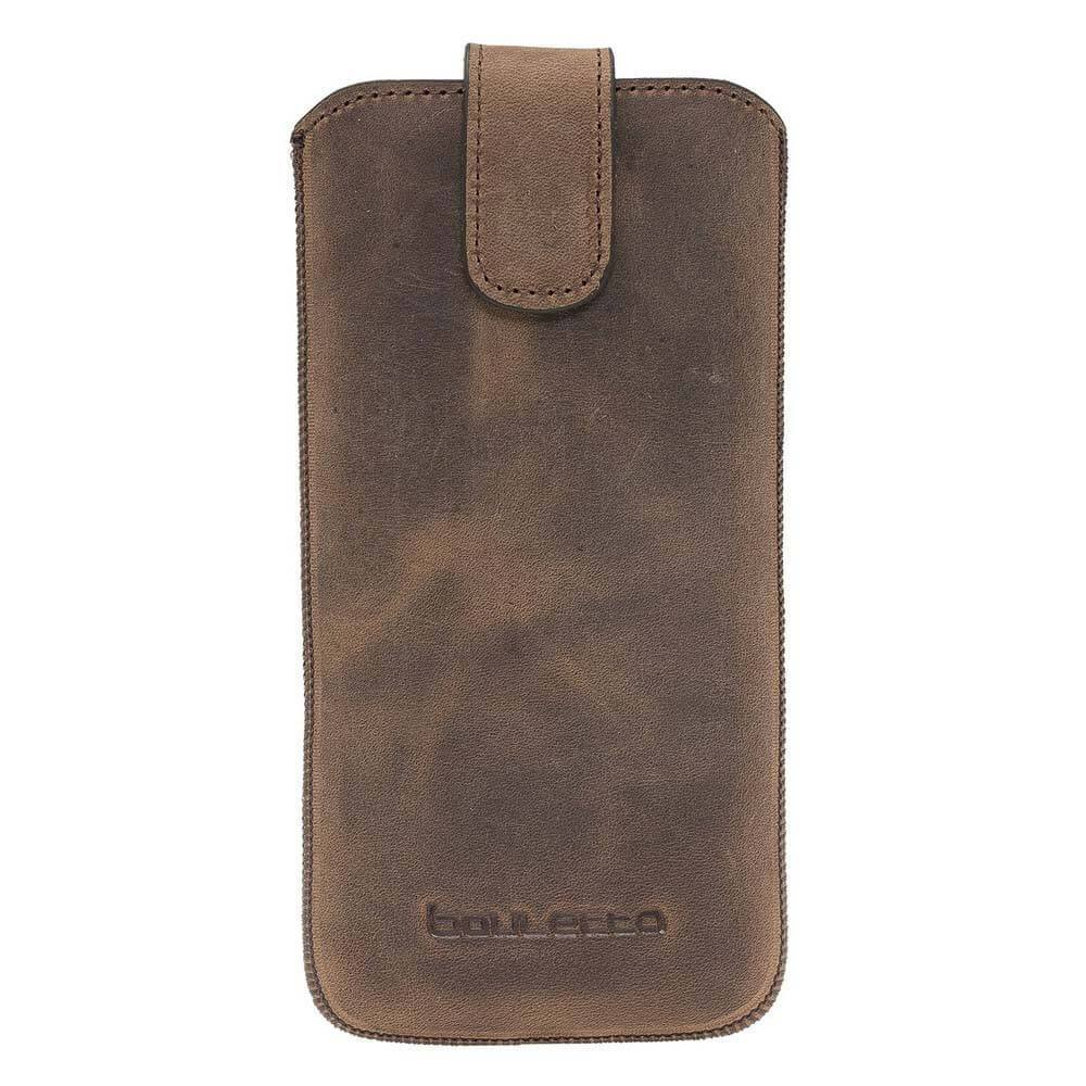 Phone Case Multi Leather Case for iPhone XS MAX, 11 ProMax, 6-7-8 Plus and Samsung Galaxy S9 Plus, S10 Plus - Antic Brown Bouletta Case