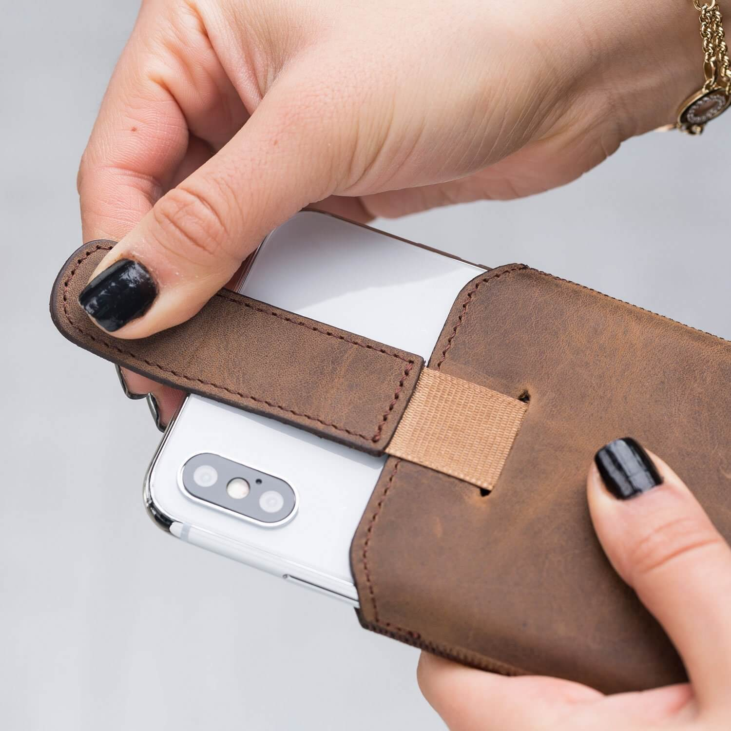 Phone Case Multi Leather Case for Samsung S10 Plus, Galaxy S9 Plus and iPhone 6-7-8 Plus, XS MAX - Antic Brown Bouletta Case