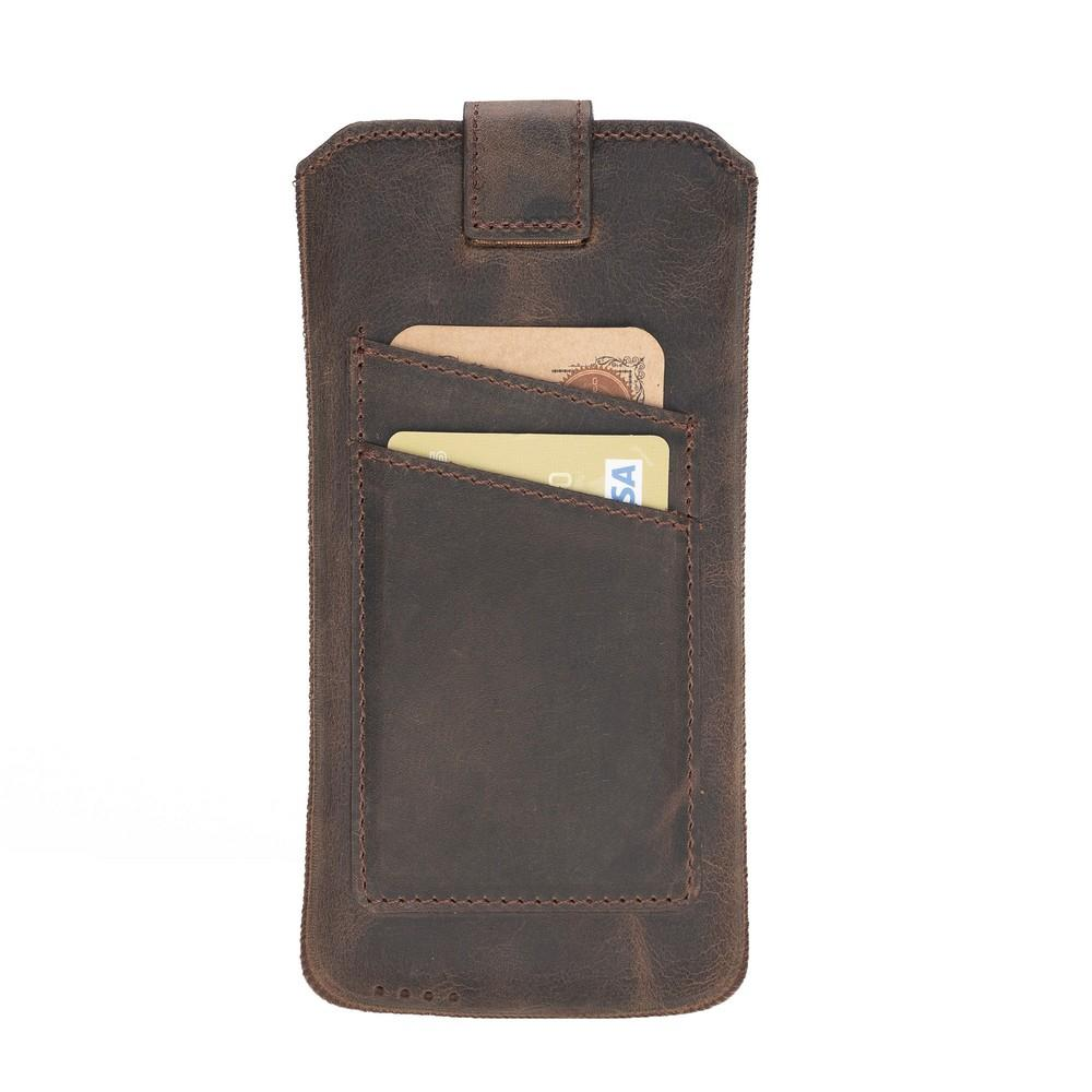 Phone Case Multi Leather Case with Card Holder for Samsung Galaxy S10 Plus, S9 Plus, iPhone 6-7-8 Plus and XS MAX - Antic Dark Brown Bouletta Case