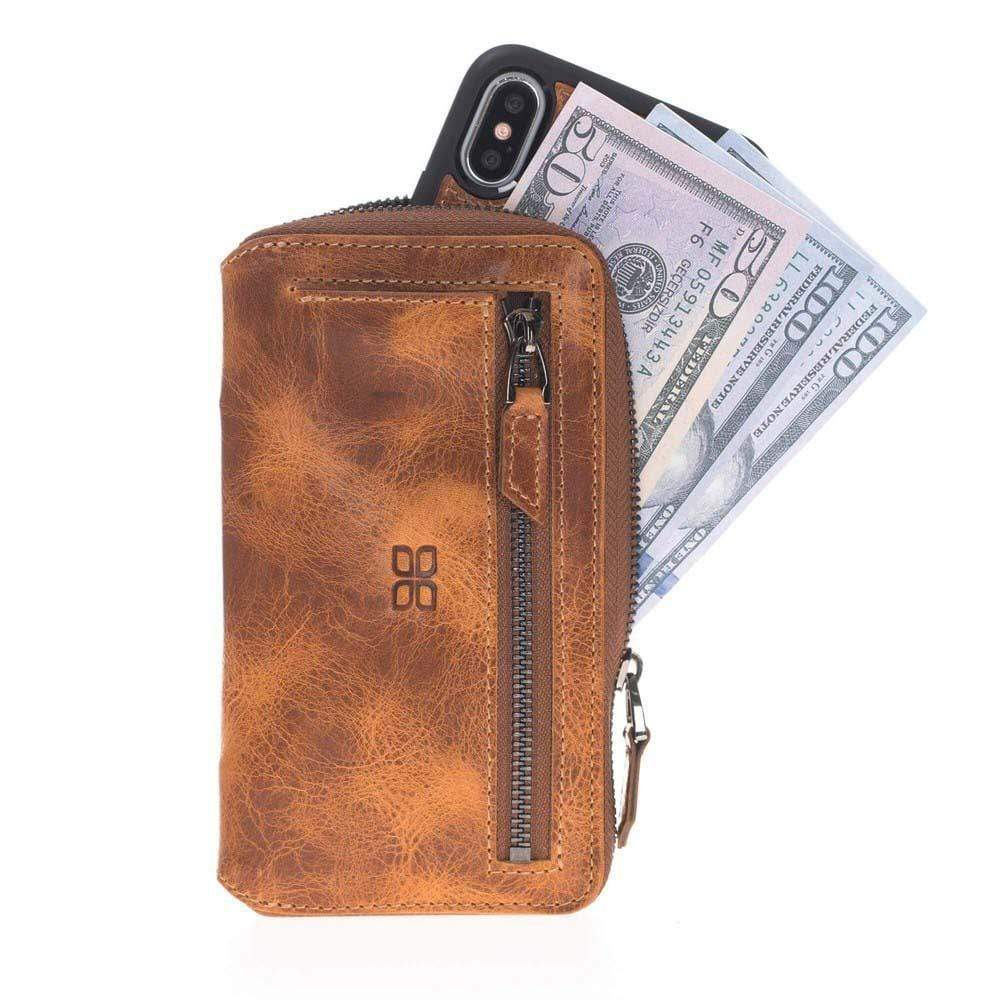 Phone Case Pouch Magnetic Detachable Leather Wallet Case for Apple iPhone X/XS - Vegetal Tan with Vein Bouletta Case
