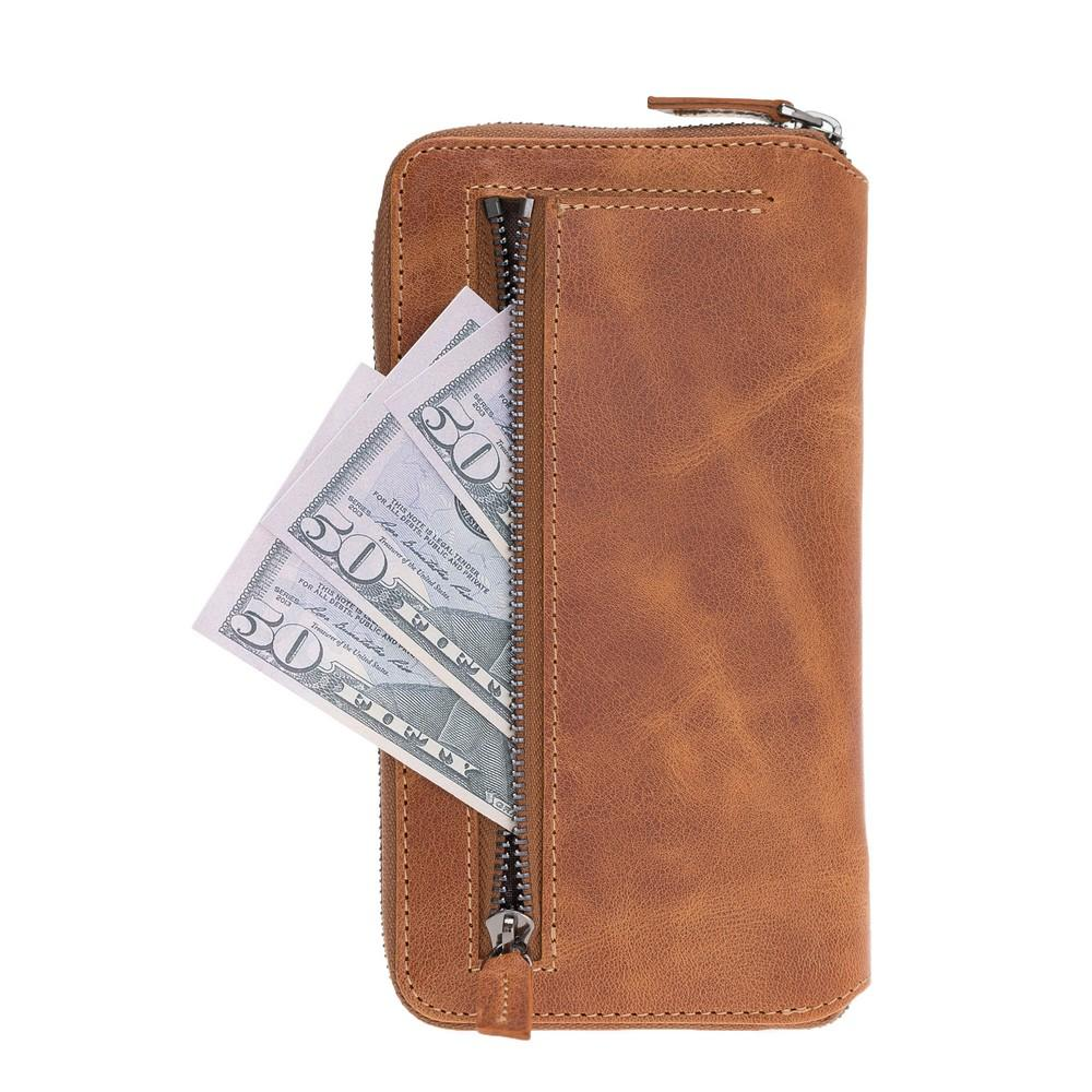 Phone Case Pouch Magnetic Detachable Leather Wallet Case for Apple iPhone XR - Tiguan Tan with Vein Bouletta Case