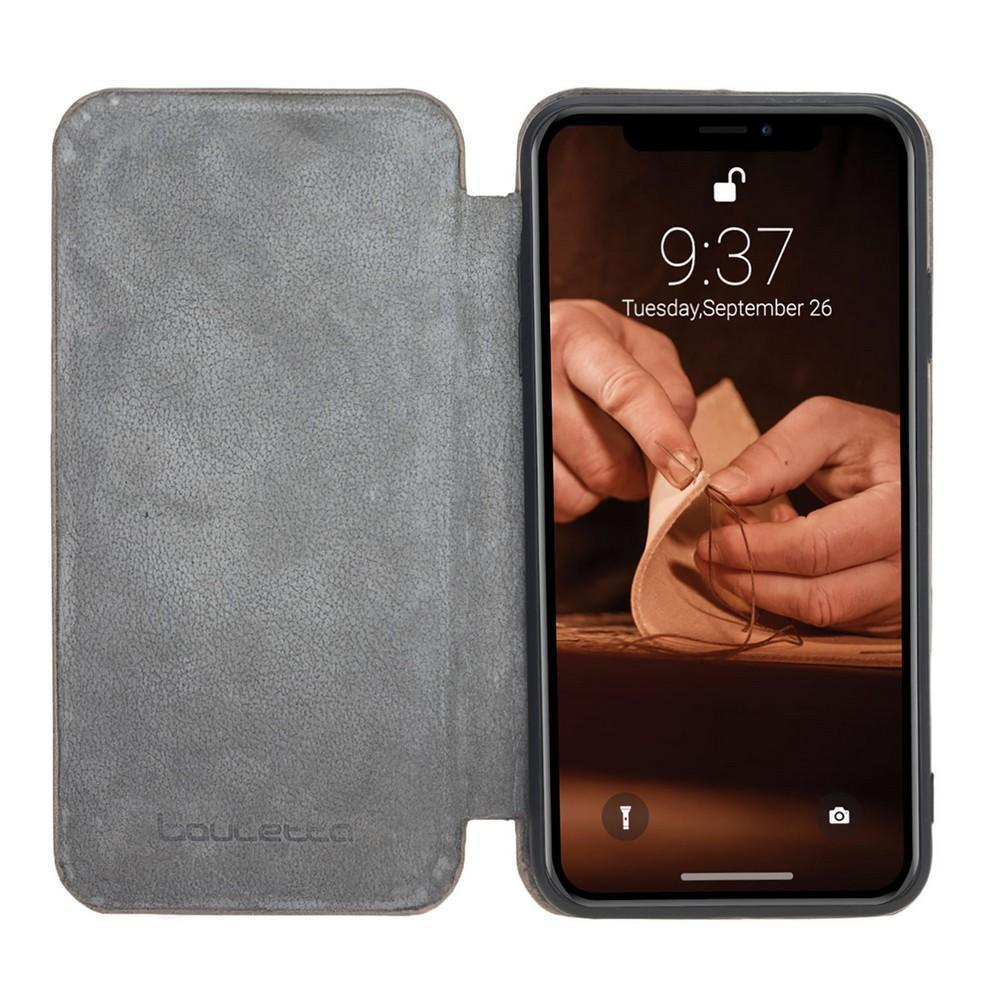 Phone Case Slim Fit Book Leather Case for Apple iPhone XS Max - Vegetal Grey Bouletta Case