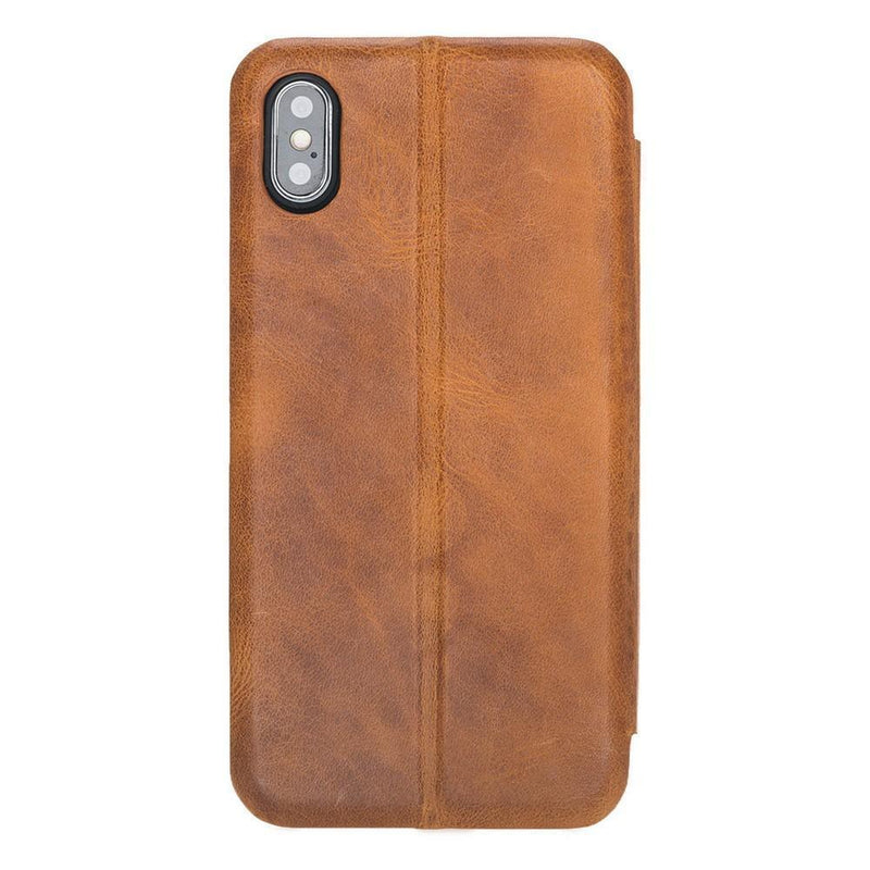 Phone Case Slim Fit Book Leather Case for Apple iPhone XS Max - Vegetal Tan with Vein Bouletta Case