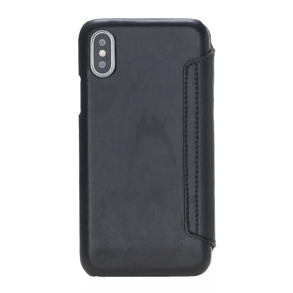 Phone Case Ultimate Book Leather Phone Cases for Apple iPhone X/XS - Rustic Black Bouletta Case