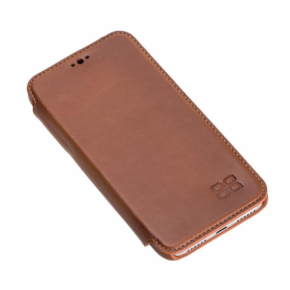 Phone Case Ultimate Book Leather Phone Cases for Apple iPhone X/XS - Rustic Tan with Effect Bouletta Case