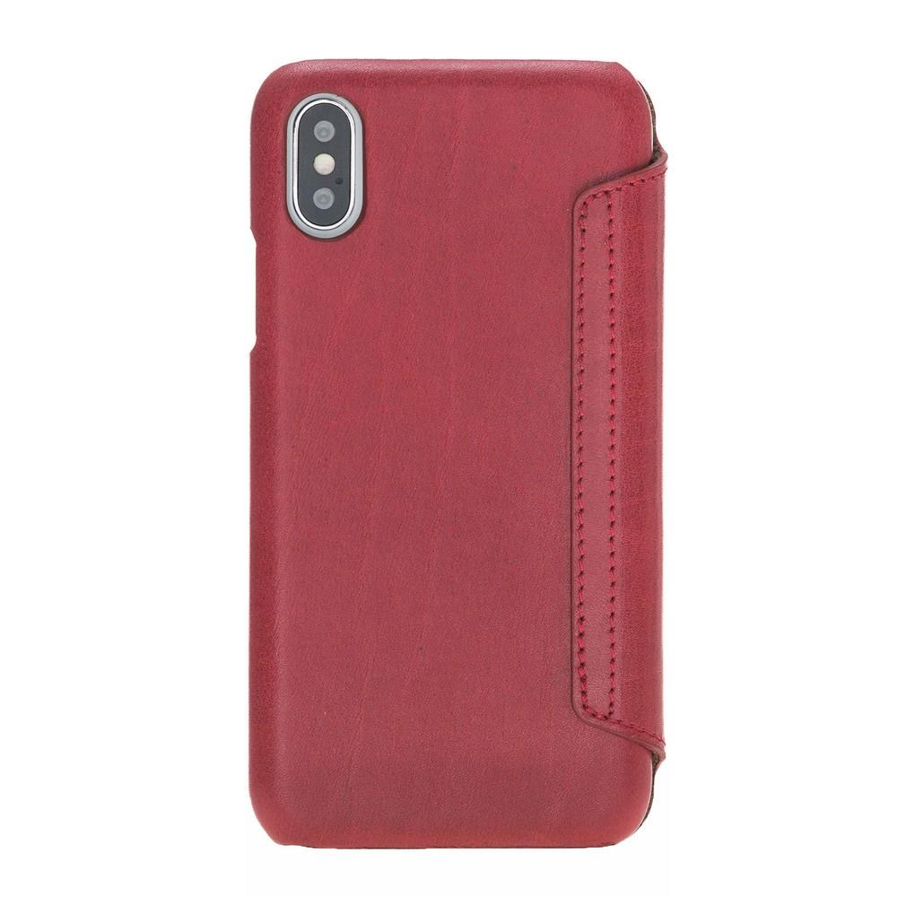 Phone Case Ultimate Book Leather Phone Cases for Apple iPhone X/XS - Vegetal Burnished Red Bouletta Case