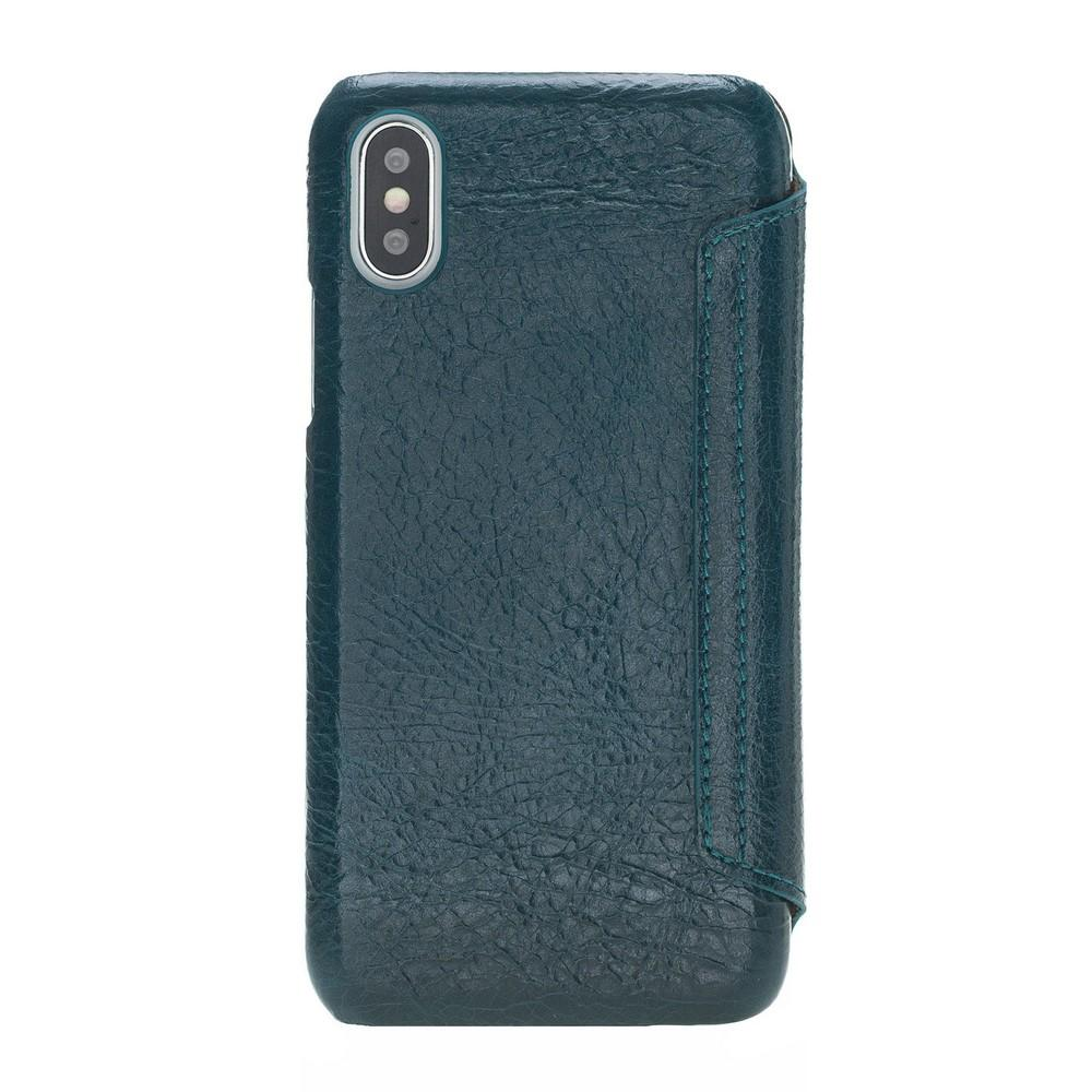Phone Case Ultimate Book Leather Phone Cases for Apple iPhone X/XS - Vesselle Dark Green Bouletta Case