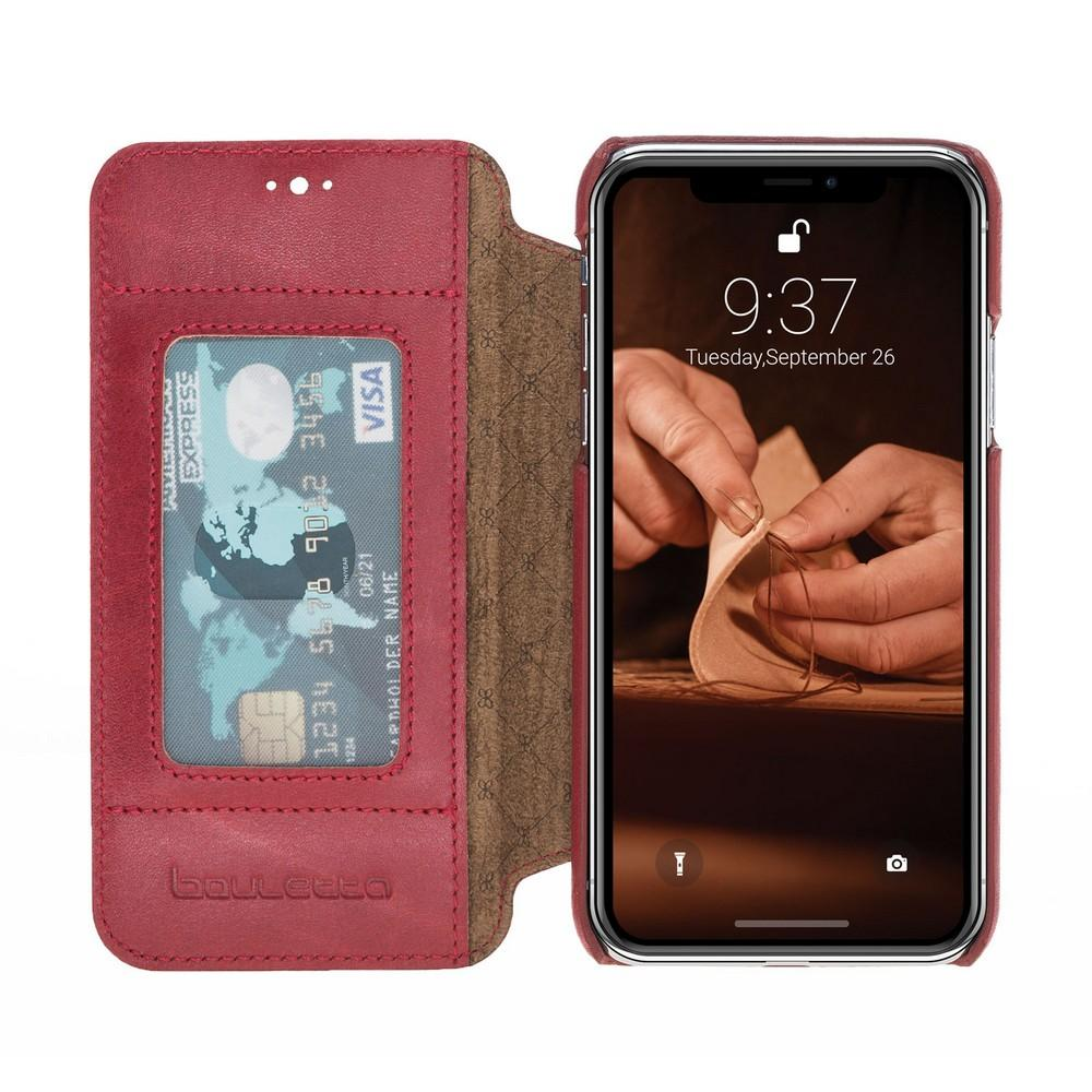 Phone Case Ultimate Book Leather Phone Cases for Apple iPhone XS Max- Vegetal Burnished Red Bouletta Case