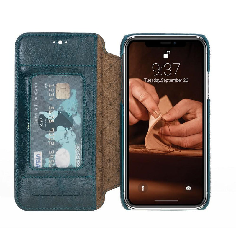 Phone Case Ultimate Book Leather Phone Cases for Apple iPhone XS Max - Vesselle Dark Green Bouletta Case