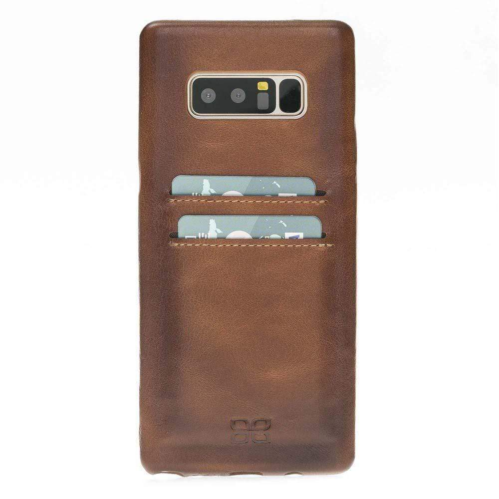 Phone Case Ultra Genuine Leather Cover with Credit Card Slots for Samsung Note 8 - Rustic Burnished Tan Bouletta Case