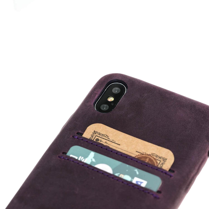 Phone Case Ultra Genuine Leather Mobile Phone Cover with Card Holder for Apple iPhone X / iPhone XS - Antic Purple Bouletta Case