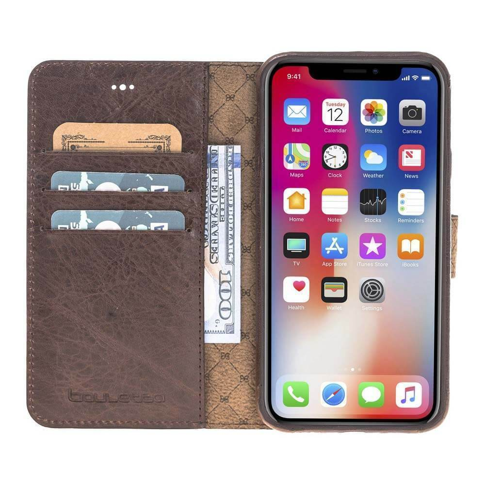 Phone Case Ultra Magnetic Detachable Leather Wallet Case for Apple iPhone X/XS - Vegetal Brown Bouletta Case