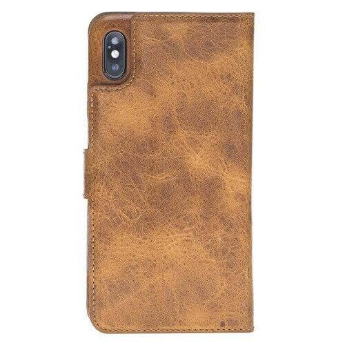 Phone Case Ultra Magnetic Detachable Leather Wallet Case for Apple iPhone XS Max - Vegetal Tan with Vein Bouletta Case