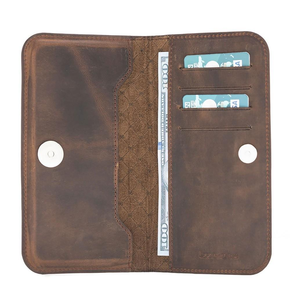 Phone Case Universal Lisbon Clutch Leather Phone Case up to iPhone XS Max - Antic Brown Bouletta Case