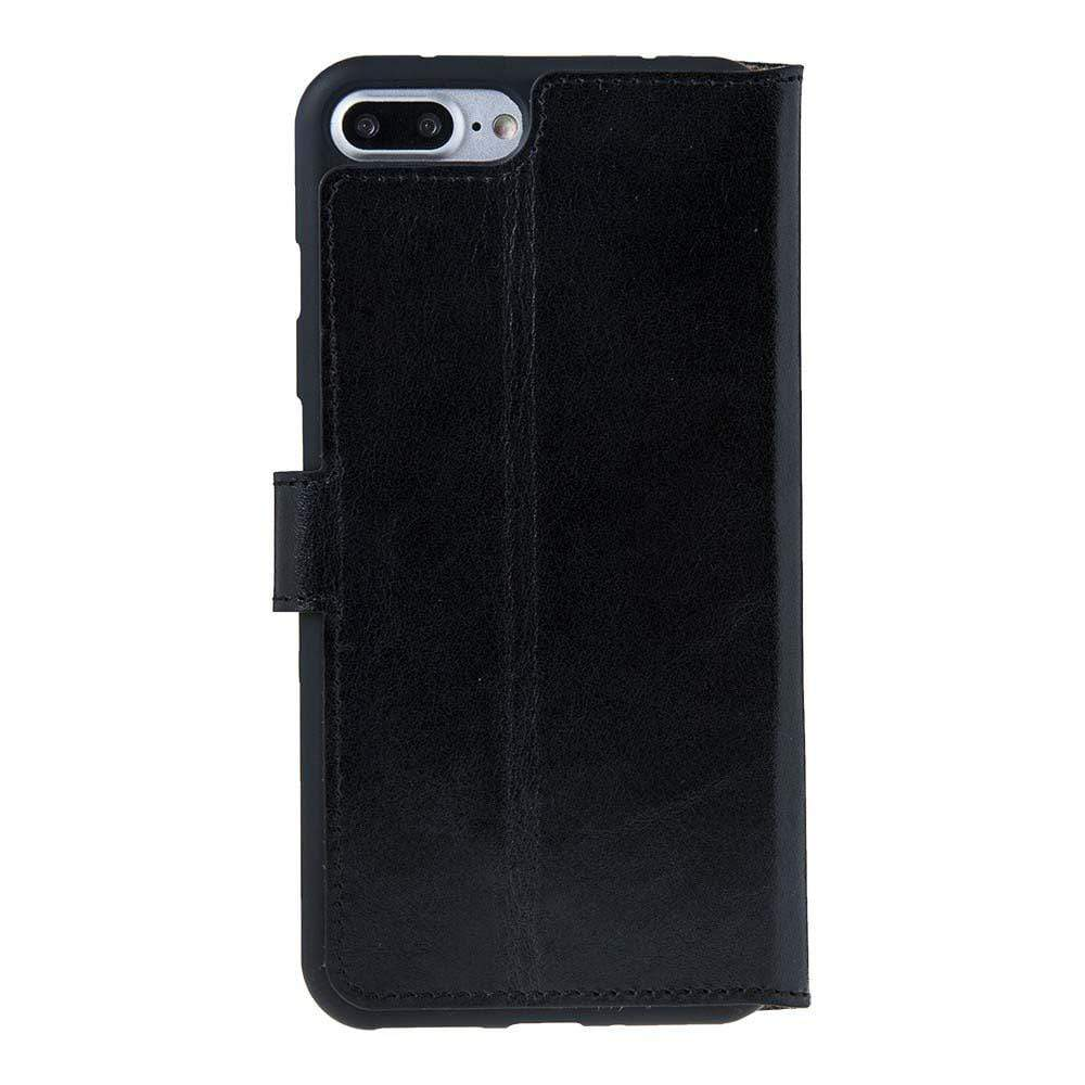 Phone Case Wallet Folio Leather Case with ID slot for Apple iPhone 7/8 Plus - Rustic Black Bouletta Case