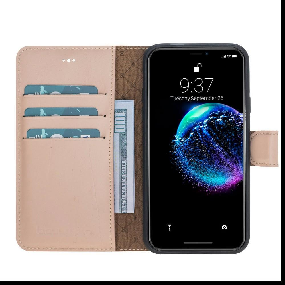 Phone Case Wallet Folio Leather Case with ID slot for Apple iPhone X/XS - Nude Bouletta Case