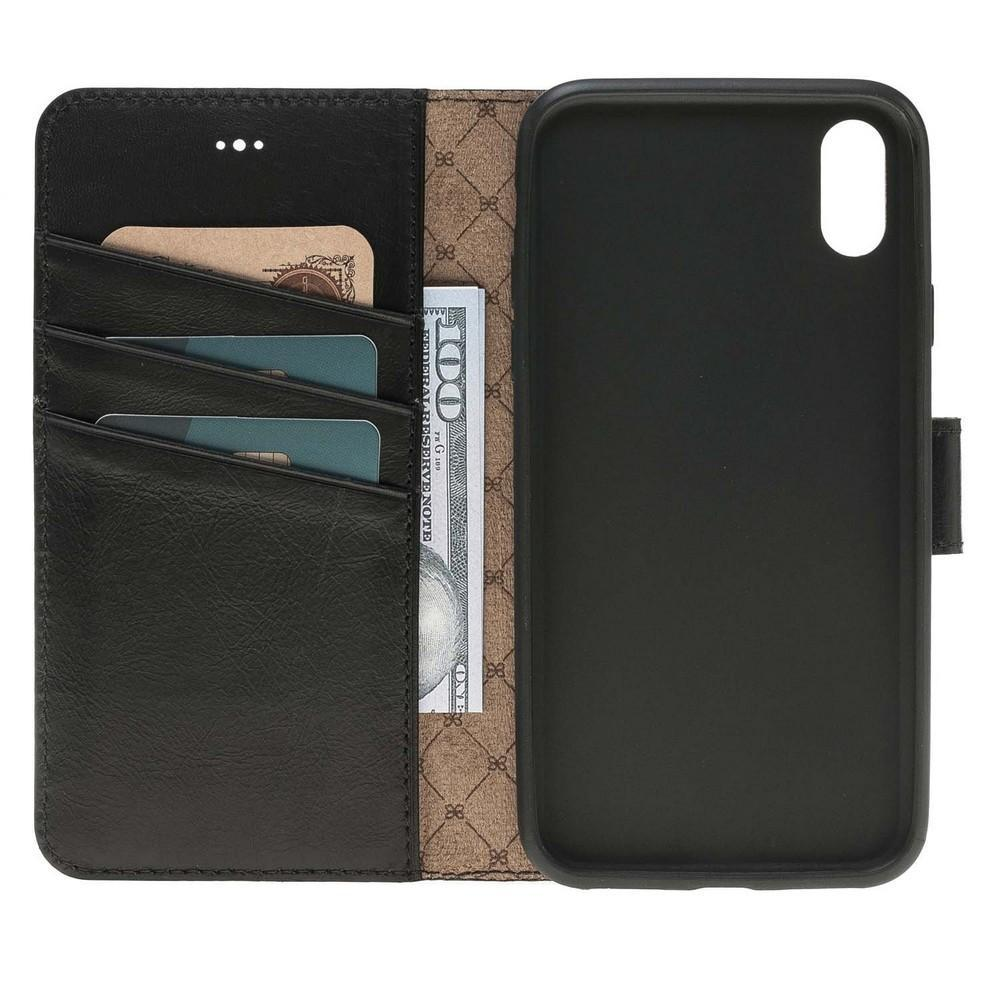 Phone Case Wallet Folio Leather Case with ID slot for Apple iPhone X/XS - Rustic Black Bouletta Case