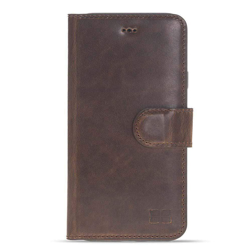 Phone Case Wallet Folio Leather Case with ID slot for Apple iPhone X/XS - Vegetal Dark Brown Bouletta Case
