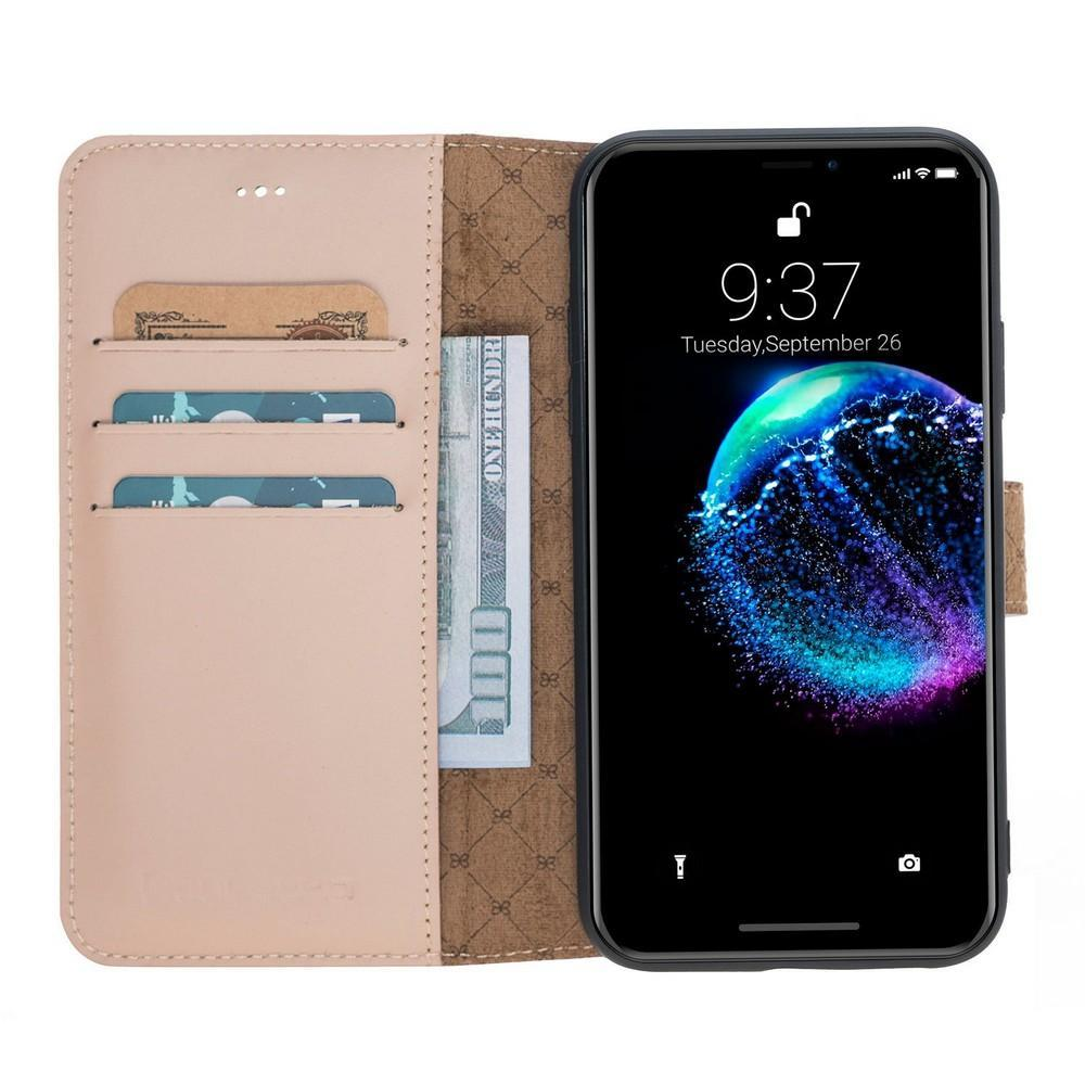 Phone Case Wallet Folio Leather Case with ID slot for Apple iPhone XR - Nude Bouletta Case