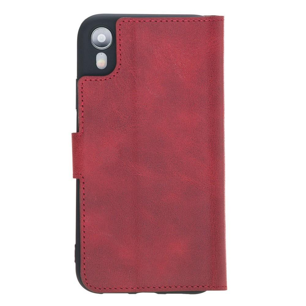 Phone Case Wallet Folio Leather Case with ID slot for Apple iPhone XR - Tiguan Red Bouletta Case