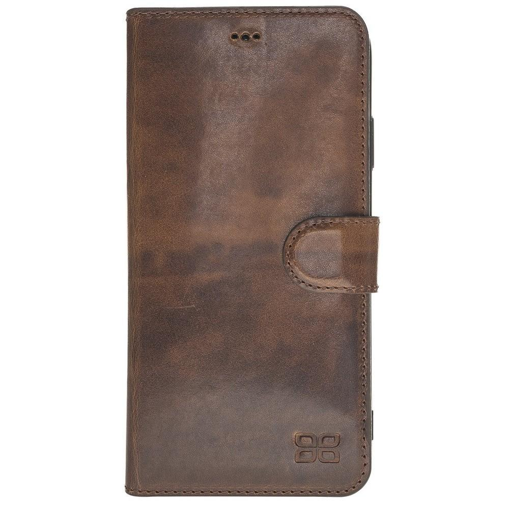 Phone Case Wallet Folio Leather Case with ID slot for Apple iPhone XS Max - Vegetal Dark Brown Bouletta Case