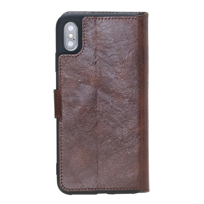 Phone Case Wallet Folio Leather Case with ID slot for Apple iPhone XS Max - Vesselle Brown Bouletta Case